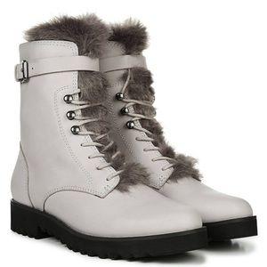NWT ✨ Franco Sarto Light Gray Leather Combat Boots